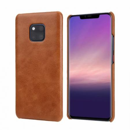 Matte Genuine Leather Back  Case Cover for Huawei Mate 20 Pro - Light Brown