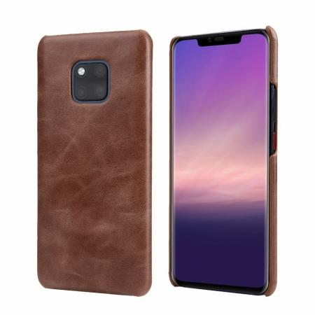 Matte Genuine Leather Back  Case Cover for Huawei Mate 20 Pro - Coffee