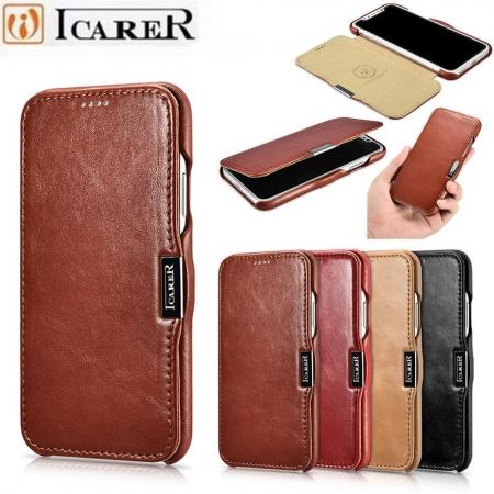 Luxury ICARER Vintage Series Cowhide Genuine Leather Wallet Case For iPhone Xs Max XR X XS 6 7 8