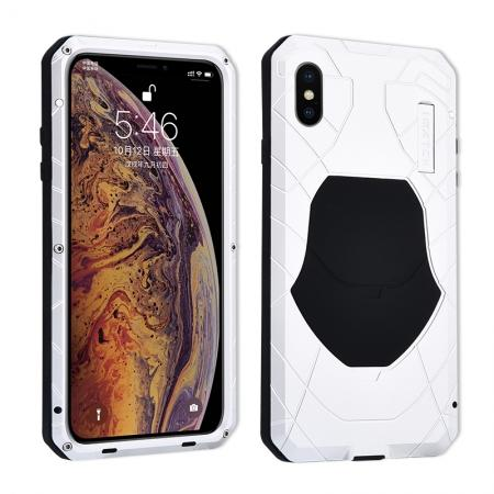 For iPhone XS Max Luxury Waterproof Shockproof Aluminum Metal Tempered Glass Case - Silver
