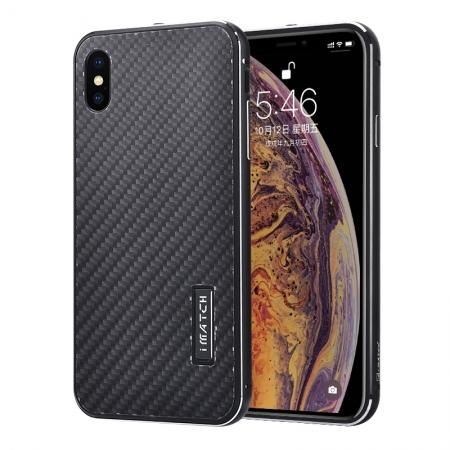 Aluminium Metal Carbon Fiber Case For iPhone XS Max - Black