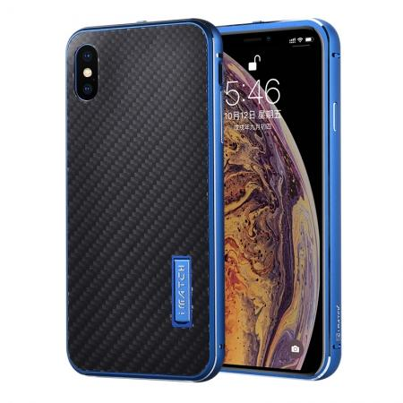 Aluminium Metal Carbon Fiber Case For iPhone XS Max - Blue&Black