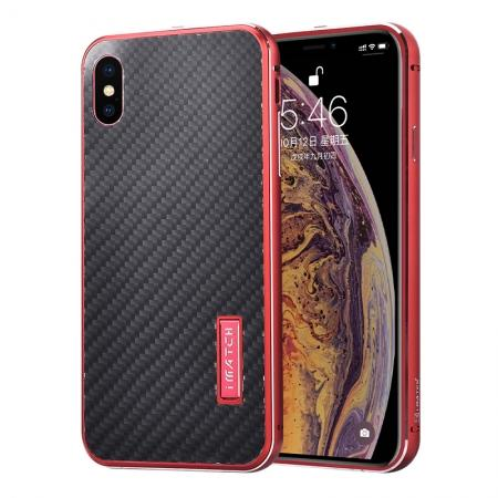 Aluminium Metal Carbon Fiber Case For iPhone XS Max - Red&Black