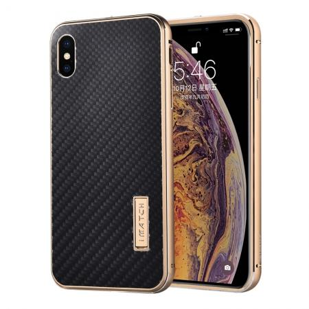 Aluminium Metal Carbon Fiber Case For iPhone XS Max - Gold&Black