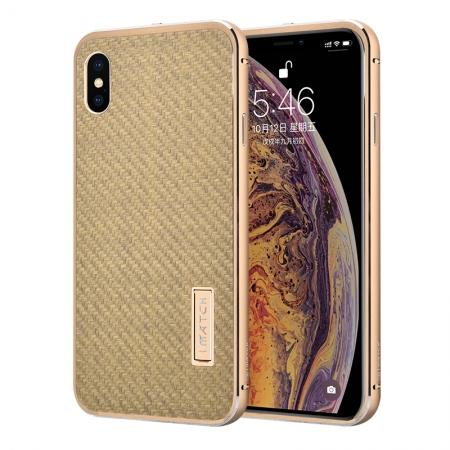 Aluminium Metal Carbon Fiber Case For iPhone XS Max - Gold