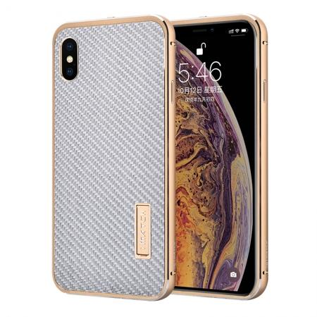 Aluminium Metal Carbon Fiber Case For iPhone XS Max - Gold&Silver