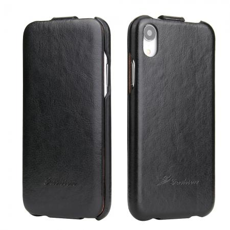 Crazy Horse Pattern Leather Case for iPhone XR - Black
