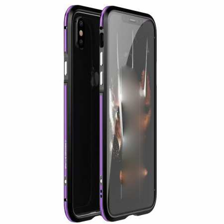 Dual Color Aluminum Metal Frame Case for iPhone XS Max - Purple&Black