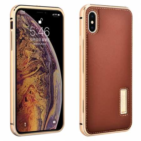 Aluminum Metal Genuine Leather Case for iPhone XS Max - Gold&Brown