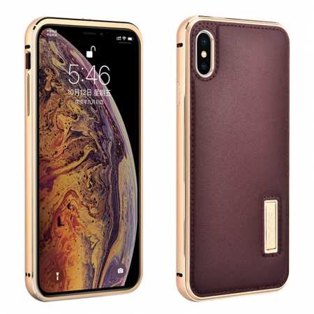 Aluminum Metal Genuine Leather Case for iPhone XS Max - Gold&Red