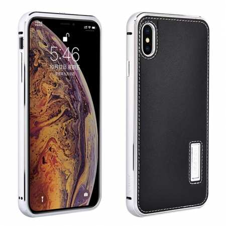 Aluminum Metal Genuine Leather Case for iPhone XS Max - Silver&Black