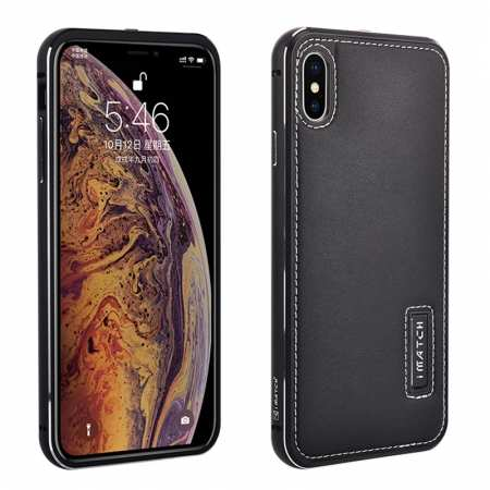 Aluminum Metal Genuine Leather Case for iPhone XS Max - Black