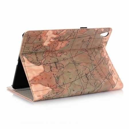 World Map Stand Flip Leather Case for iPad Pro 11-inch - Light  Brown