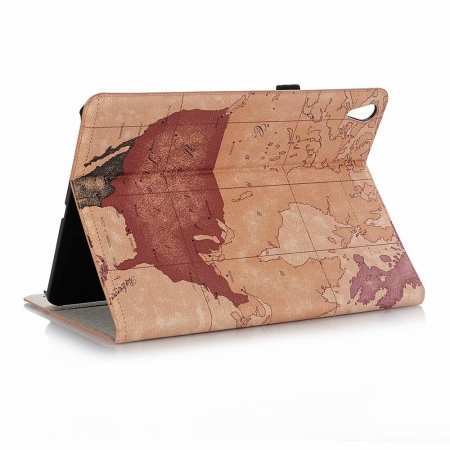 World Map Stand Flip Leather Case for iPad Pro 11-inch - Brown