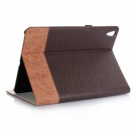 Cross Pattern Folio Wallet Leather Case for iPad Pro 11-inch - Coffee