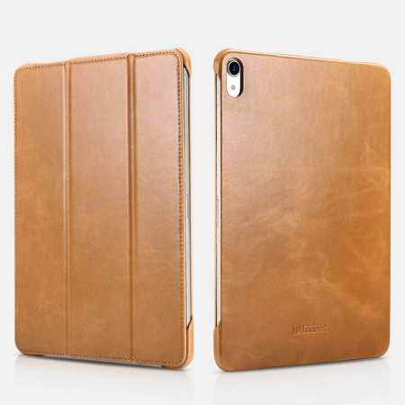 ICARER Vintage Series Genuine Leather Smart Case For iPad Pro 11 inch - Khaki
