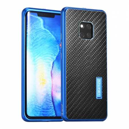 Shockproof Aluminium Metal Carbon Case for Huawei Mate 20 Pro - Black&Blue