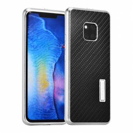 Shockproof Aluminium Metal Carbon Case for Huawei Mate 20 Pro - Black&Silver