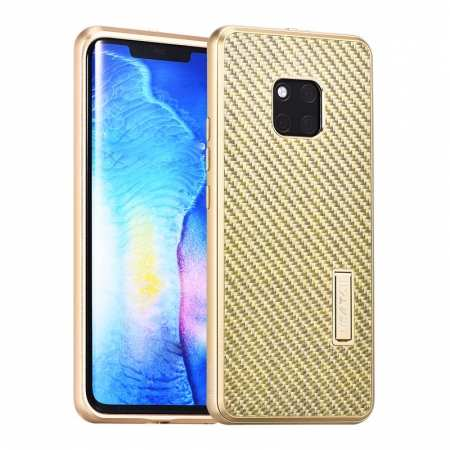 Shockproof Aluminium Metal Carbon Case for Huawei Mate 20 Pro - Gold