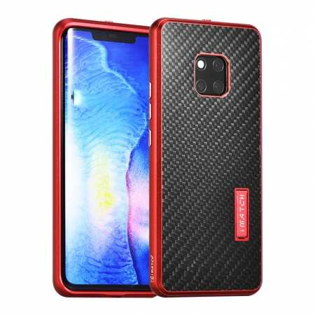 Shockproof Aluminium Metal Carbon Case for Huawei Mate 20 Pro - Red&Black