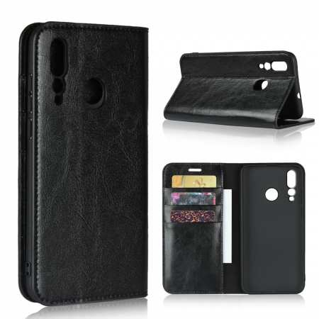 Genuine Leather Wallet Card Holder Case Magnetic Cover for Huawei Nova 4 - Black