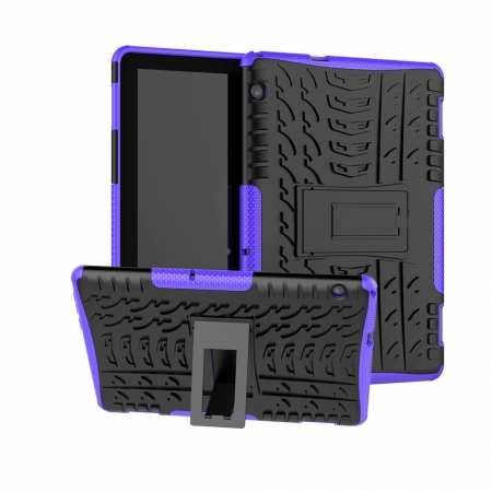 For Huawei Mediapad T5 10 10.1inch Case Shockproof Rugged Armor Hybrid Protective Cover - Purple