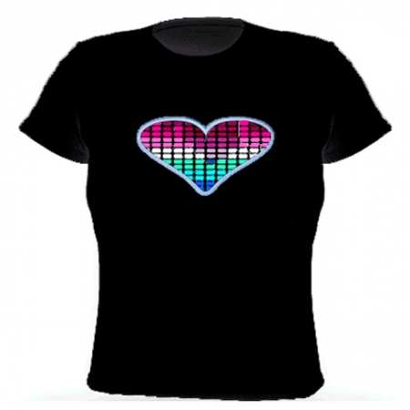 Electro-Luminescent Led Shirt With Music Activated Sweet Heart FM013 Led T Shirt