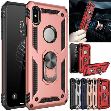 For iPhone 12 11 Pro X XS Max SE XR 8 7 Plus Case Shockproof Armor Ring Holder Stand Cover