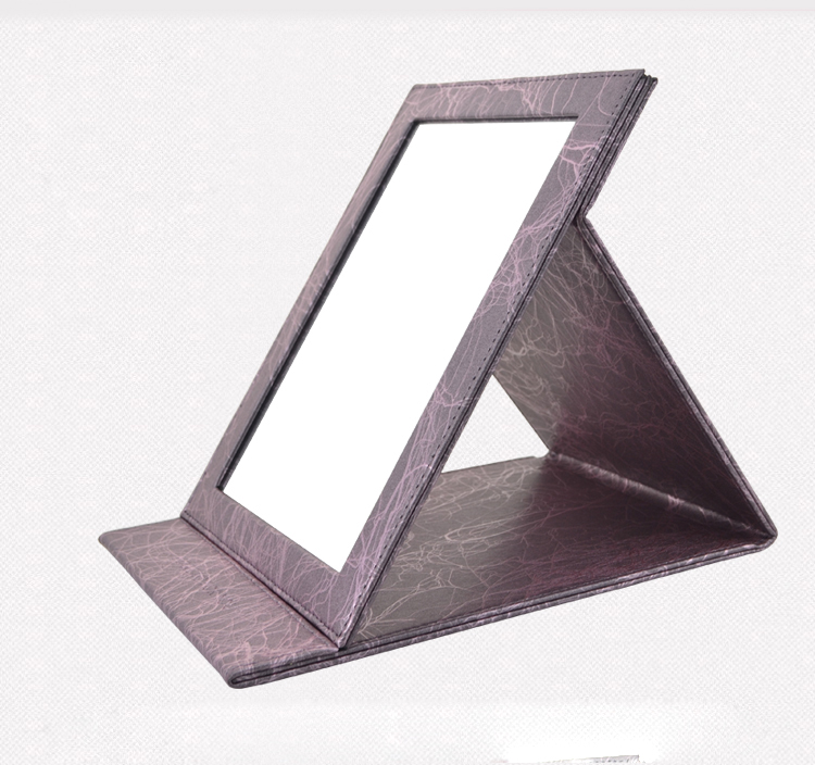 2013 Portable New Leather Folding Cosmetic Mirror Makeup Mirror Big Size    Puple 13919