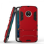 Hybrid ShockProof Protective Rugged Case with Kickstand for Motorola Moto G5 Plus - Red