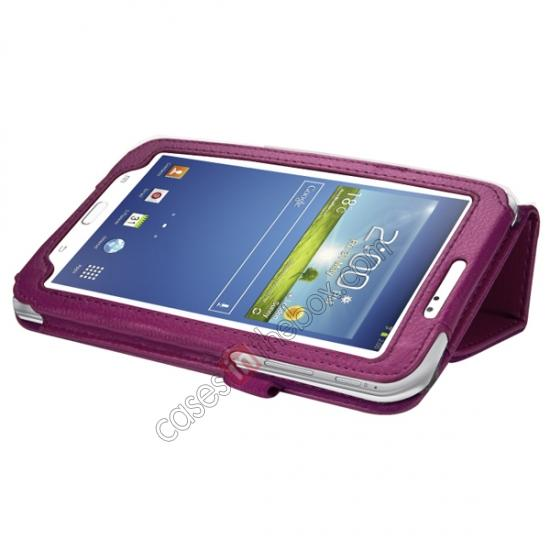 cheap Leather Folding Folio Stand Case Cover For Samsung Galaxy Tab 3 7.0 T210 P3200 P3210 - Rose red