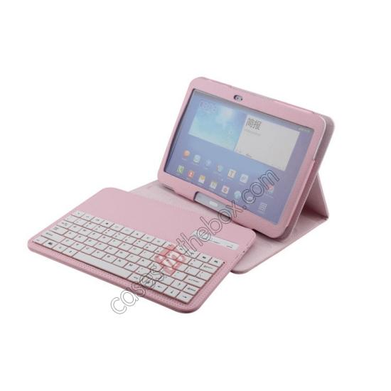 cases for samsung 10.1,top quality Detachable Bluetooth Keyboard + Flip Stand Leather Case For Samsung Galaxy Tab 3 10.1 P5200 P5210 - Pink