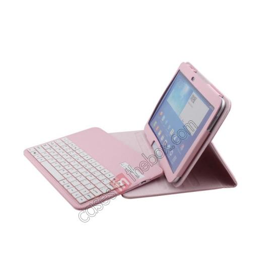 10.1 samsung galaxy,best price Detachable Bluetooth Keyboard + Flip Stand Leather Case For Samsung Galaxy Tab 3 10.1 P5200 P5210 - Pink