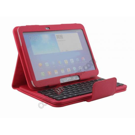 samsung galaxy tablet 10.1 cover case,top quality Detachable Bluetooth Keyboard + Flip Stand Leather Case For Samsung Galaxy Tab 3 10.1 P5200 P5210 - Red