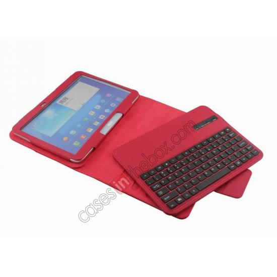 samsung 10.1 screen,on sale Detachable Bluetooth Keyboard + Flip Stand Leather Case For Samsung Galaxy Tab 3 10.1 P5200 P5210 - Red