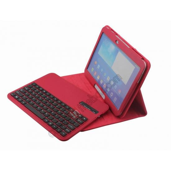 samsung galaxy 10.1 tab 3 case,cheap Detachable Bluetooth Keyboard + Flip Stand Leather Case For Samsung Galaxy Tab 3 10.1 P5200 P5210 - Red