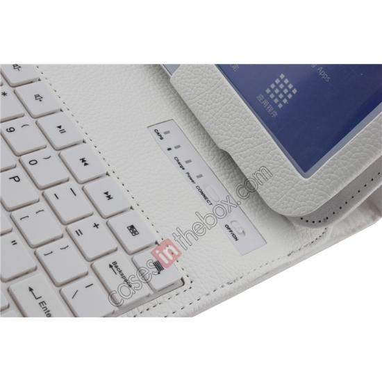 low price Detachable Bluetooth Keyboard + Flip Stand Leather Case For Samsung Galaxy Tab 3 10.1 P5200 P5210 - White