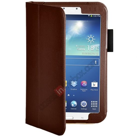 discount Flip PU Leather Case Cover for Samsung Galaxy Tab 3 8.0 T310/T3110 - Brown