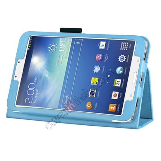 wholesale Flip PU Leather Case Cover for Samsung Galaxy Tab 3 8.0 T310/T3110 - Light Blue