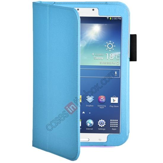 discount Flip PU Leather Case Cover for Samsung Galaxy Tab 3 8.0 T310/T3110 - Light Blue