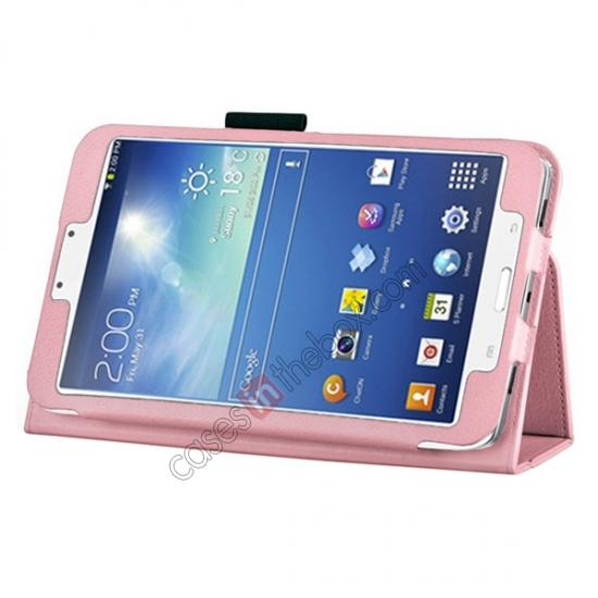 wholesale Flip PU Leather Case Cover for Samsung Galaxy Tab 3 8.0 T310/T3110 - Pink