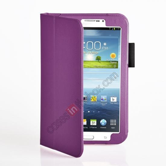 discount Flip PU Leather Case Cover for Samsung Galaxy Tab 3 8.0 T310/T3110 - Purple