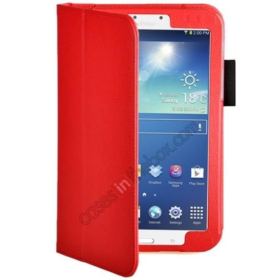 discount Flip PU Leather Case Cover for Samsung Galaxy Tab 3 8.0 T310/T3110 - Red