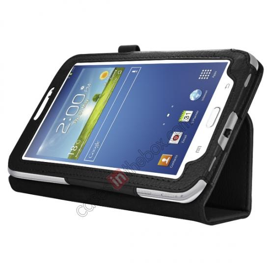 wholesale Leather Folding Folio Stand Case Cover For Samsung Galaxy Tab 3 7.0 T210 P3200 P3210 - Black