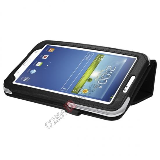 cheap Leather Folding Folio Stand Case Cover For Samsung Galaxy Tab 3 7.0 T210 P3200 P3210 - Black