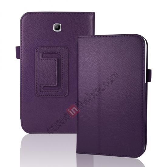 top quality Leather Folding Folio Stand Case Cover For Samsung Galaxy Tab 3 7.0 T210 P3200 P3210 - Black