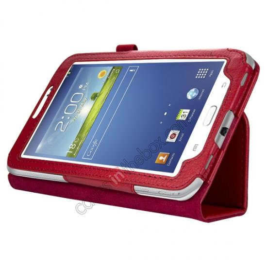wholesale Leather Folding Folio Stand Case Cover For Samsung Galaxy Tab 3 7.0 T210 P3200 P3210 - Red
