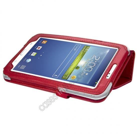 cheap Leather Folding Folio Stand Case Cover For Samsung Galaxy Tab 3 7.0 T210 P3200 P3210 - Red