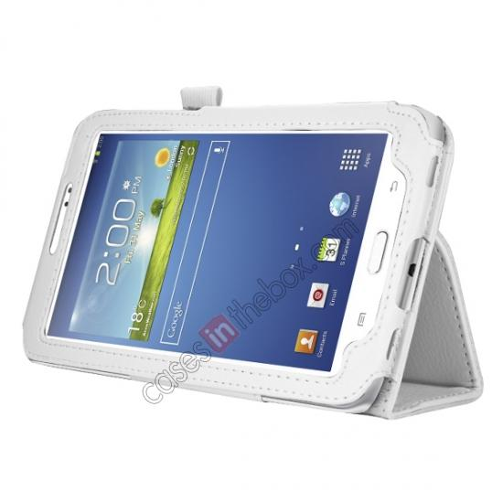 wholesale Leather Folding Folio Stand Case Cover For Samsung Galaxy Tab 3 7.0 T210 P3200 P3210 - White