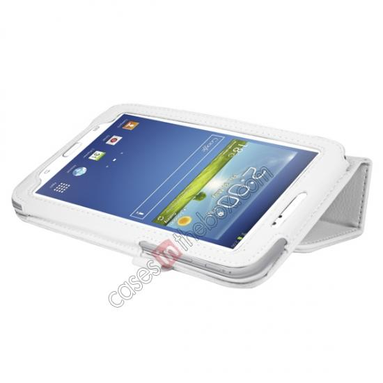 cheap Leather Folding Folio Stand Case Cover For Samsung Galaxy Tab 3 7.0 T210 P3200 P3210 - White